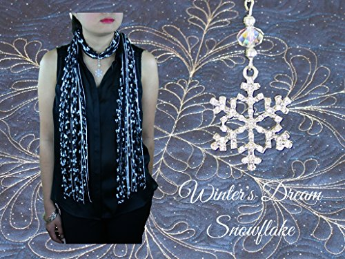 Women's Crystal Snowflake Holiday Scarf Necklace in Beige Blue Black White ~ Exquisite Snowflake Collection Winter's Dream Snowflake