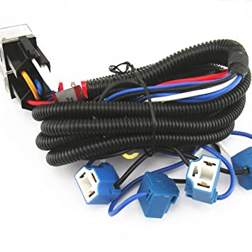 61tHwrSTrHL._SY355_ amazon com 4 headlight relay wiring harness h4 headlamp light h4 headlight wiring harness at eliteediting.co