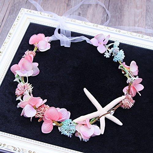 Scala Brand Bridal Hair Accessories Handmade Headband Beach Starfish Flower Wreath Bride Handmade Wedding Garland Soft Pearl Hair Jewelry (Pink-Starfish) -
