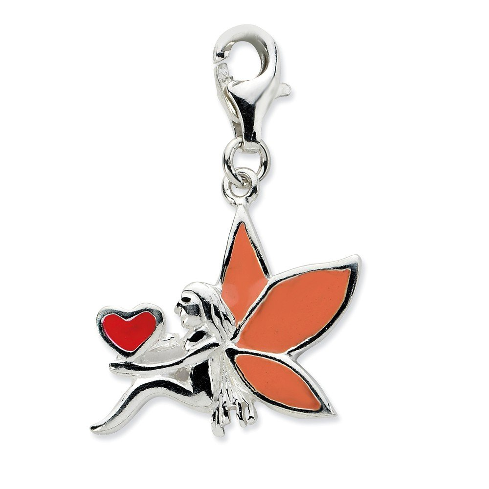 Measures 26x20mm Sterling Silver Rhodium-plated Fancy Lobster Closure Enameled Fairy With Heart W Lobster Clasp Charm