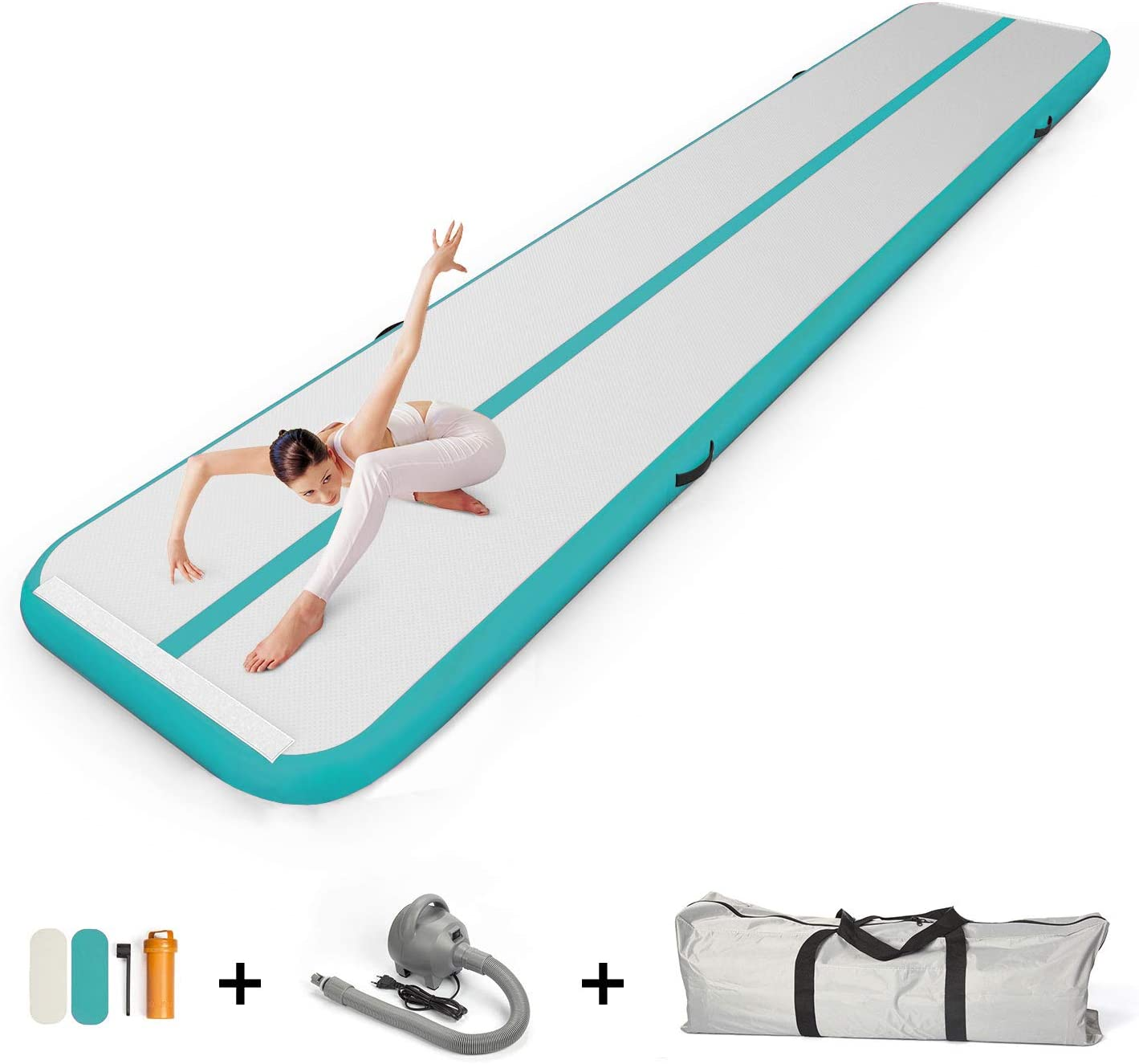 JC-ATHLETICS 16ft//20ft Inflatable Gymnastics Tumbling Air Track Mat with Air Pump for Cheerleading//Practice Gymnastics//Beach//Park//Home use