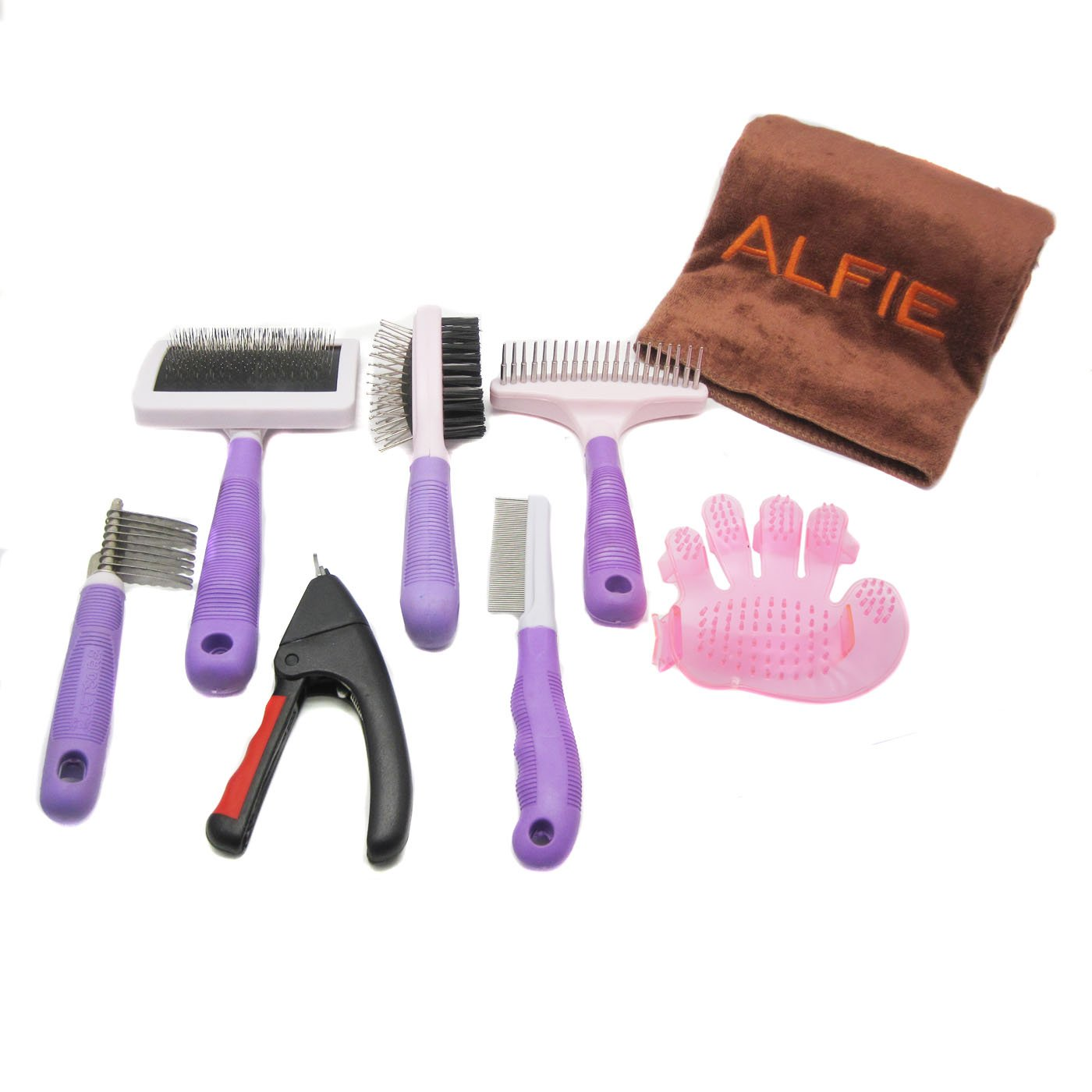 Alfie Pet by Petoga Couture - 7-piece Home Grooming Kit with Microfiber Fast-Dry Towel - Double-Sided Brush, Flea Comb, Nail Trimmer, Slicker Comb, Dematting Tool, Undercoat Rake, Bath Massage Glove