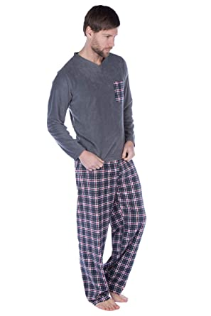 7621f6b63ff0c Harvey James Thermo Tops Ensemble Pyjama Chaud en Polaire pour Homme - Gris  - XL