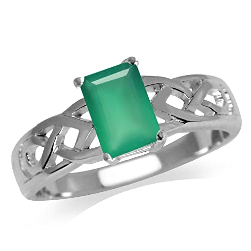 Silvershake 7X5mm Natural Octagon Shape Emerald Green Agate 925 Sterling Silver Celtic Knot Solitaire Ring