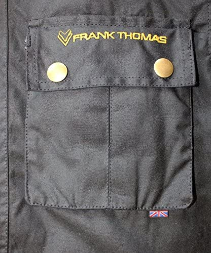 MEDIUM M, BLACK Frank Thomas RMASTER WAX COTTON MOTORCYCLE JACKET MOTORBIKE J/&S