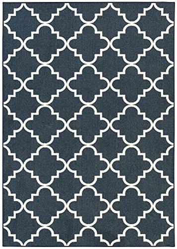 (Mohawk Home 11836 405 060084 Soho Fancy Trellis Geometric Lattice Printed Area Rug, 5'x7', Navy)