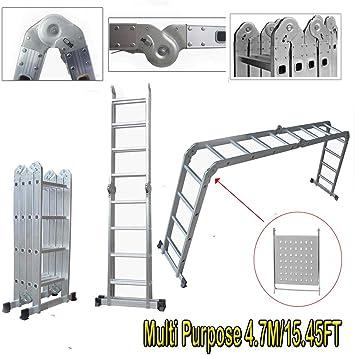 Escalera multiusos plegable de aluminio de 4,7 m, escaleras de 6 vías, multifunción con 1 bandeja de herramientas con EN 131, triple extensión ideal para casa, oficina, trabajos: Amazon.es: Bricolaje y herramientas