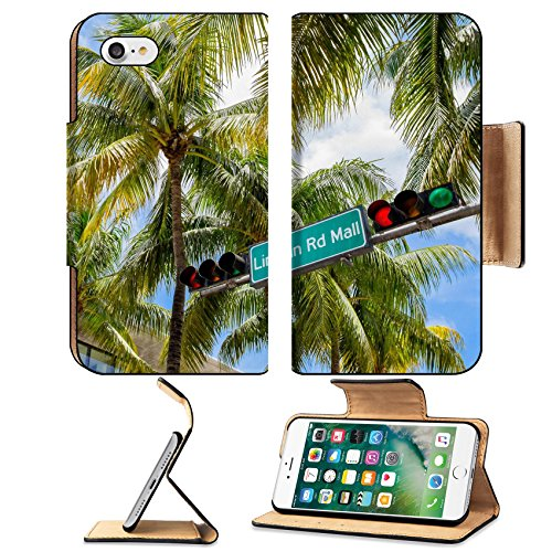 Liili Premium Apple iPhone 7 Flip Pu Leather Wallet Case Lincoln Road Mall street sign located in Miami Beach - Miami South Malls Beach In