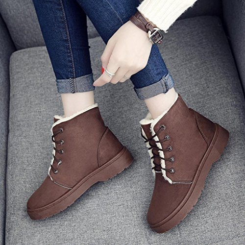 Lace Lined Up Ankle Warm Brown Boots Shoes Winter Flat WensLTD Snow Fur Women 4qwSB4WI