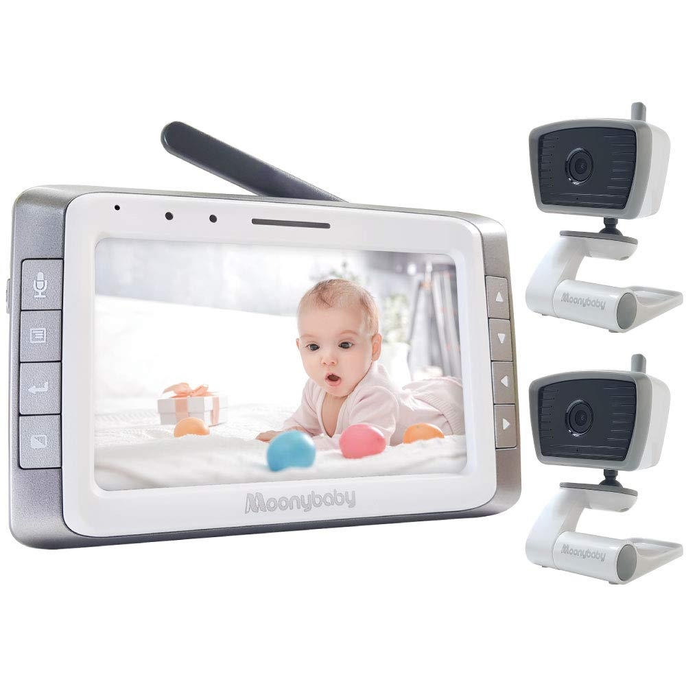 Video Baby Monitor with 2 Cameras, 5 inches Large Screen, Long Battery Life, Long Range, Non-WiFi, Auto Night Vision, Talk Back, Auto Scan, Lullabies, Power Saving, VOX, Voice Activation, 2X Zoom in by moonybaby