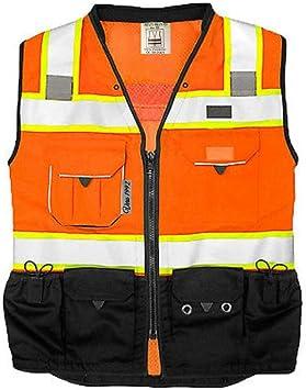 Vero1992 (C) Vest Mens Class 2 Black Series Safety Vest With Zipper and Utility Pockets Premium Black Series Surveyors Vest (XX-Large, Orange/Black)