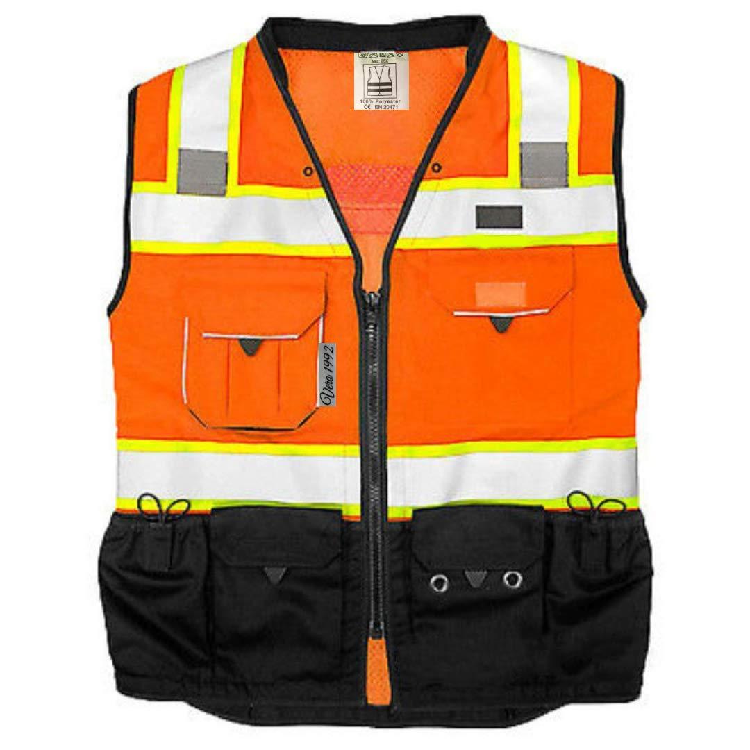 Vero1992 Vest Mens Class 2 Black Series Serveyors Utility Pockets Safety Vests Premium Black Series Serveyors Vest (Large, Orange/Black)