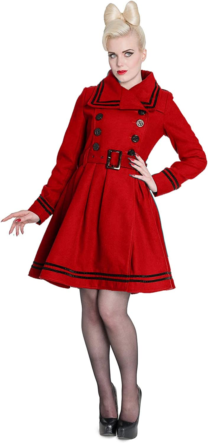 Hell Bunny 40s 50s Vintage Rockabilly Winter Coat Millie Red