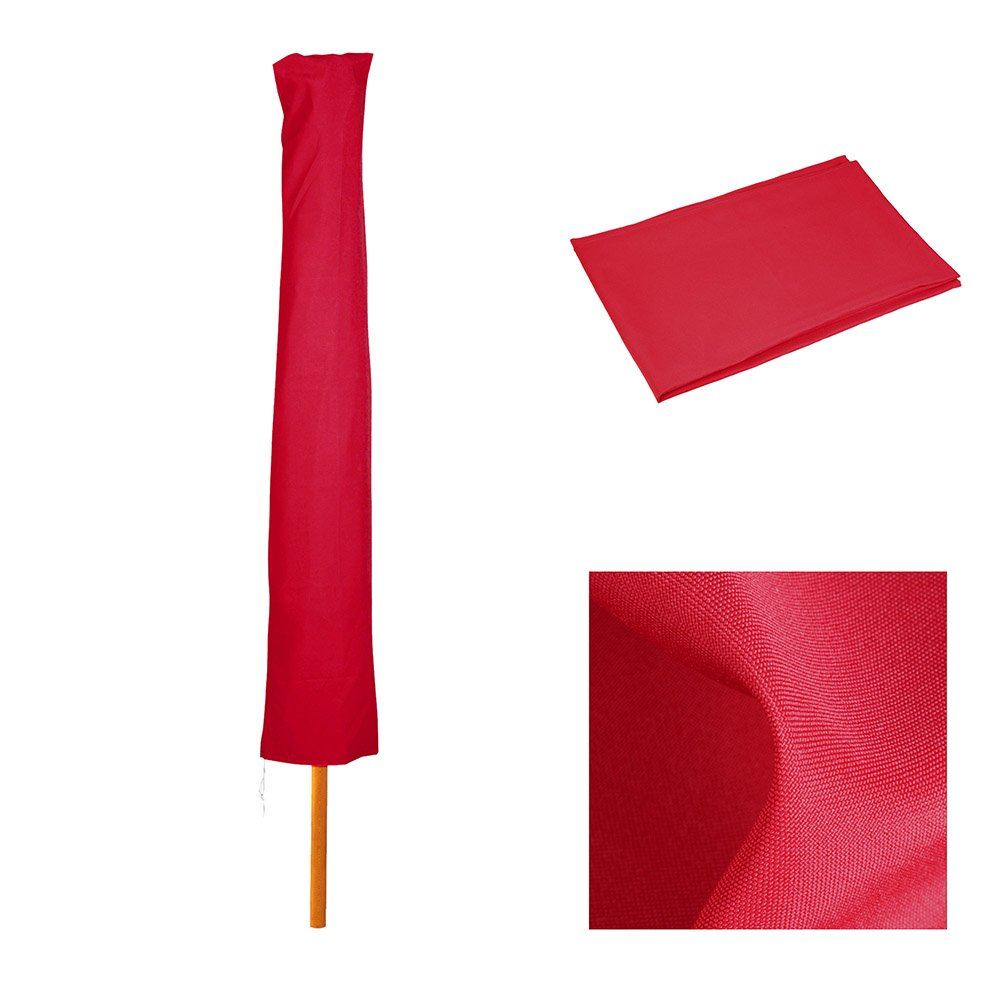 JTW Waterproof PVC - Water Resistant Polyester Fab Patio Market Outdoor Umbrella Protective Canopy Cover Bag fit 5' to10'ft RED color (Not Zipper)
