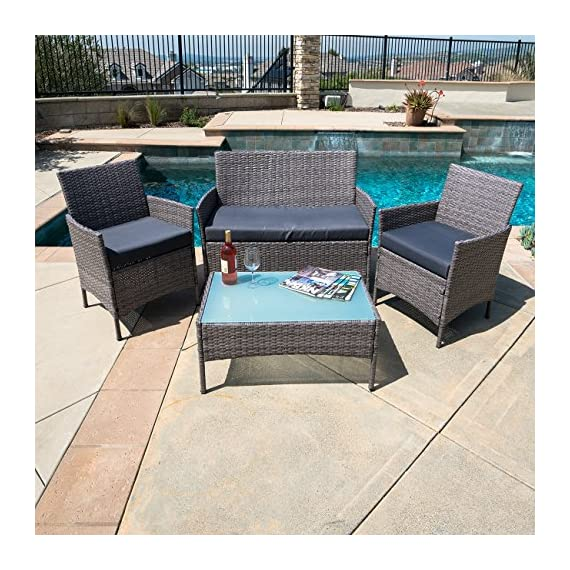 BELLEZE 4 PC Rattan Patio Furniture Garden Lawn Sofa Outdoor Weather Resistant Wicker Cushioned Seat Set, Gray - Simple Contemporary- Design of this patio set suits a range of tastes and preferences, which complements any Outdoor/Indoor living space Elegant and Comfortable- 4-Piece Wicker set will transform your outdoor area into a cozy private retreat Sophisticated Touch- Table with removable tempered glass adds a sophisticated touch and allows you to place drinks, meals, or decorative items on top - patio-furniture, patio, conversation-sets - 61tI FLlf2L. SS570  -