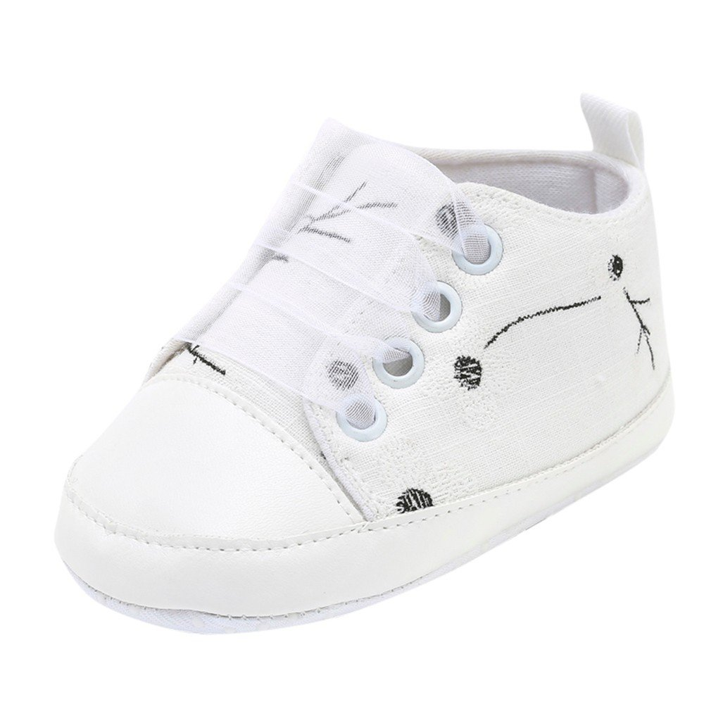 HOSOME Baby shoes Girls Boys Floral Embroidery Print Solid Soft Sole Casual Shoes White
