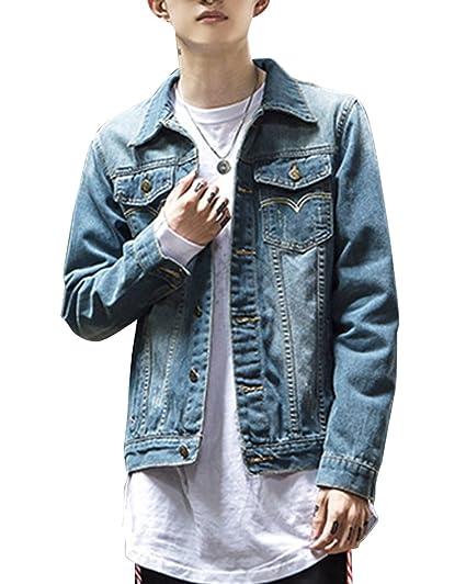 051722d6aa4 ShiFan Casual Button up Denim Trucker Jacket Lightweight Coats for Men   Amazon.co.uk  Clothing