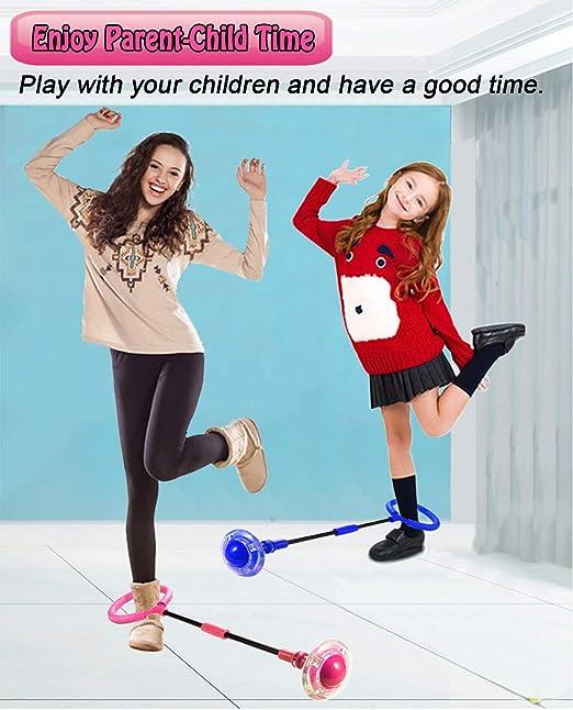 BOBORA LED Flashing Jumping Skipping Ball Toys Kids Fitness Ankle Skip Ball Skipping Ball Sport Exercise Indoor Outdoor Fitness Equipment