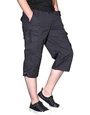 CRYSULLY Men's Casual Cotton Multi Pockets Elastic Waistband Shorts Loose Fit Knee-Length Cargo Shorts