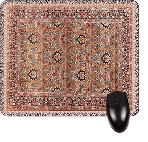 Antique Persian Kerman Rug (Antique Style Kerman Persian Patterned Rug Print Design TM -Square Mouse pad - Stylish, Durable Office Accessory and Gift Made in the USA)