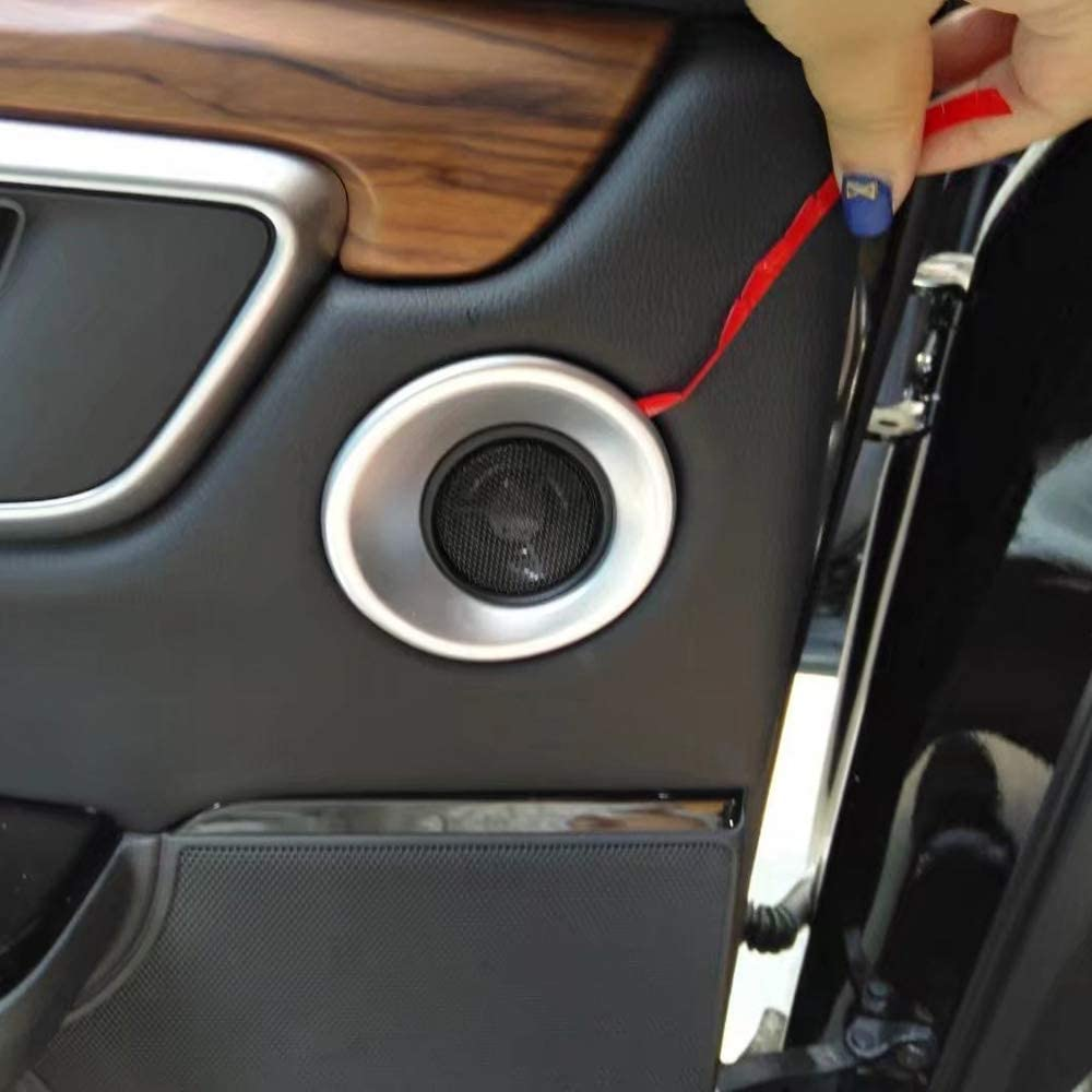 Kadore for Honda CRV CR-V 2017-2019 Carbon Fiber Style Interior Car Rear Door Loud Speaker Cover Trim 2-pc