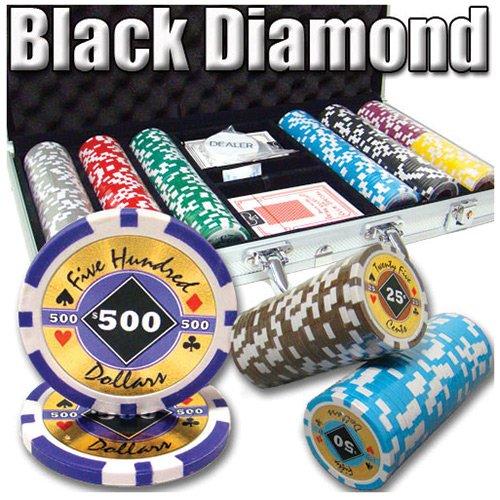 300 Ct Black Diamond 14 Gram Clay Poker Chip Set w/ Aluminum Case (Aluminum Case Chip 300)