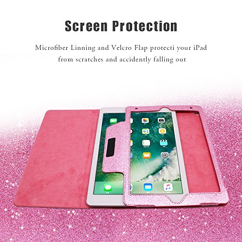 2018 NEW iPad/iPad Air/Air2/Pro 9.7 Glitter Case,FANSONG Bling Sparkle PU Leather Smart Cover [Flip Stand Function] [Auto Sleep/Wake] Universal Case for Apple iPad Air/Air2/Pro 9.7 (Bling Pink) by FANSONG (Image #4)