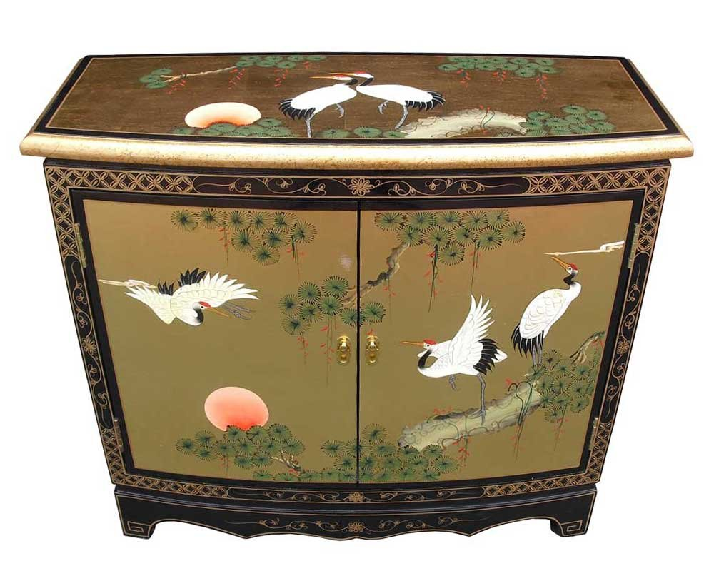 Oriental Chinese Furniture   Gold Leaf 2 Door Hall Cabinet With Cranes  Design: Amazon.co.uk: Kitchen U0026 Home