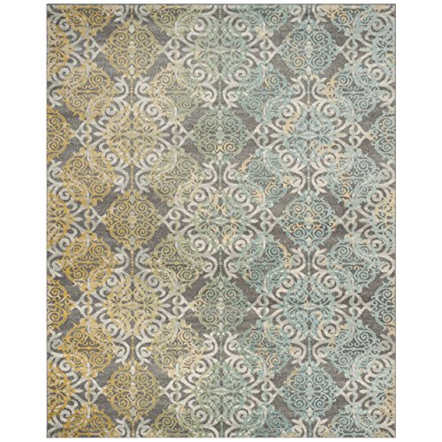 Safavieh Evoke Collection EVK230D Vintage Medallion Damask Grey and Ivory Area Rug (9' x 12')