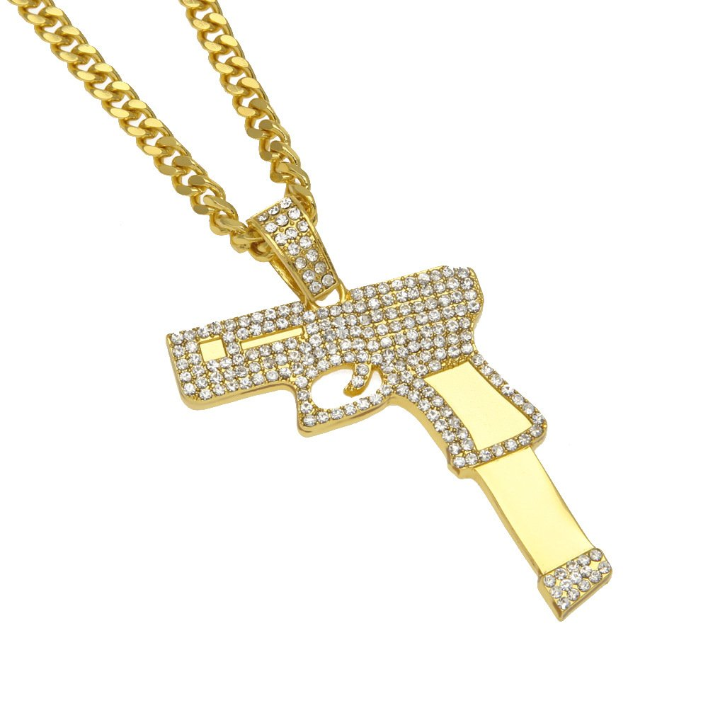HongBoom Hip Hop Cuban Link Chain 14K Gold Plated CZ Crystal Fully Iced-Out Hand Gun Necklace HB-123-R
