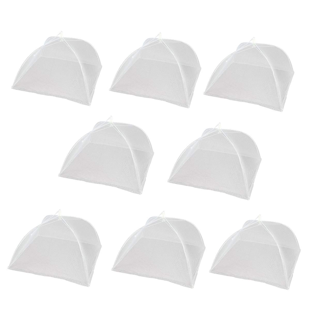 EVINIS Large White Pop Up Mesh Screen Food Cover - Keep Out Flies, Bugs, Mosquitos - Reusable and Collapsible (Pack of 8)