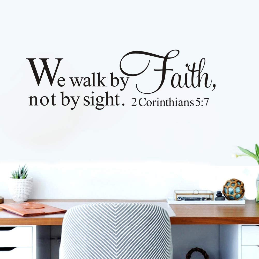 TOARTi We Walk by Faith, Not by Sight Quote Wall Decal,Scripture Bible Verse Wall Sticker,(Black) Religious Faith Vinyl Wall Decal Motivational Art Mural Bedroom Decor