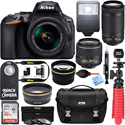Nikon D5600 24 2 MP DSLR Camera + AF-P DX 18-55mm & 70-300mm NIKKOR Zoom  Lens Kit + Accessory Bundle