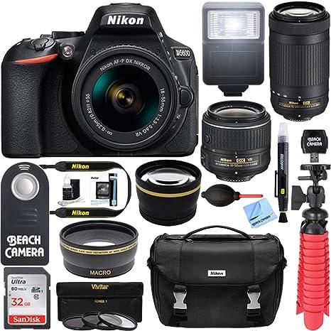 Nikon D5600 24 2 MP DSLR Camera + AF-P DX 18-55mm & 70-300mm NIKKOR Zoom  Lens Kit + Accessory Bundle