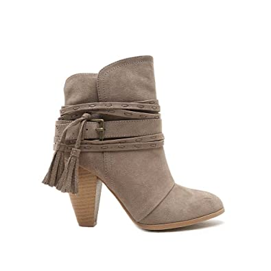 Raelynn-32 Taupe Suede Strappy Buckle Chunky Stacked Heeled Booties