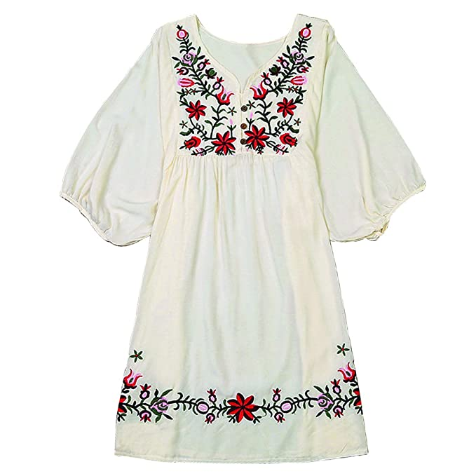 ef970c52476 Kafeimali Summer Dress V Neck Mexican Embroidered Peasant Women s Dressy  Tops Blouses (Beige)