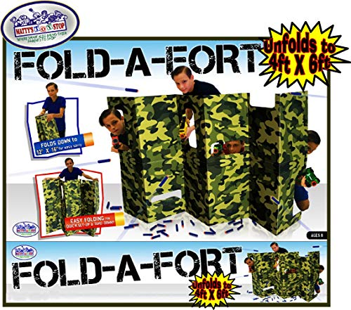 Matty's Toy Stop Fold-A-Fort Corrugated Cardboard Defensive Barrier Wall with Cutouts for Nerf, Laser Tag & More (Unfolds to -
