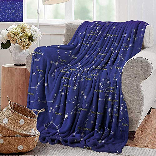 Cheap Weighted Blanket Constellation Astronomy Science Names of Stars Zodiac Signs Night Sky Violet Blue White Light Yellow 300GSM Super Soft and Warm Durable 50