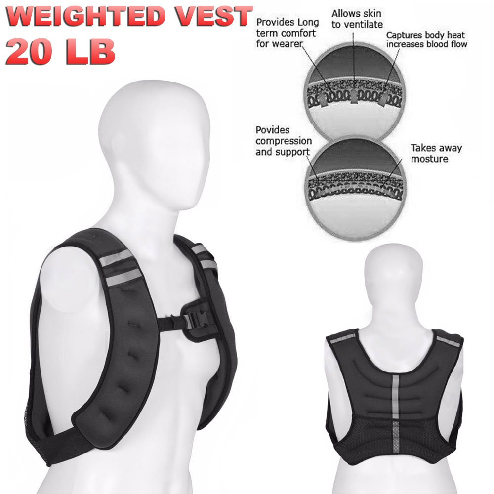 15lbs FITNESS MANIAC Weighted Vest Jacket Adjustable Training Fitness Workout Strength Weight Exercise 10lbs 20lbs Workout Crossfit Running Gym Weight
