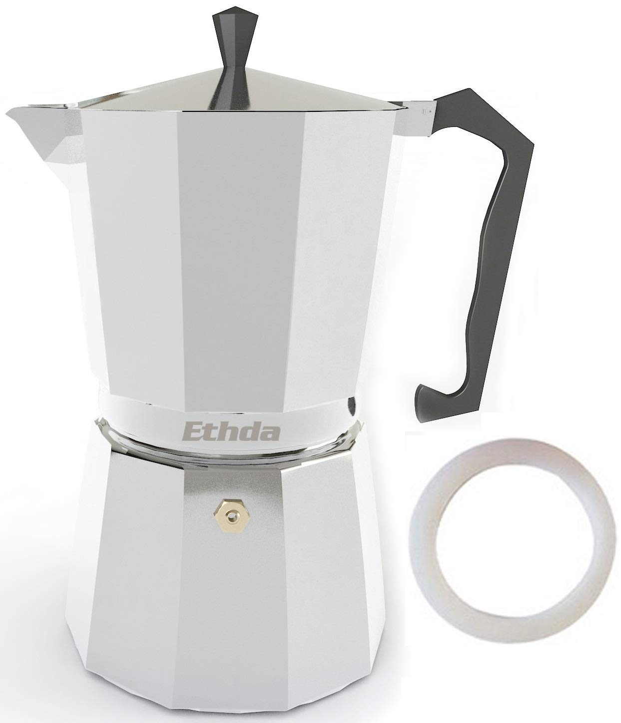 ETHDA Stovetop Espresso Maker, Moka Pot, Coffee Maker for Italian Cappuccino, Latte, Good for Gas or Electric Stovetop, Silver, Aluminum, Extra Gasket Included, Strong Handle,Gift for Mom (9 Cup)