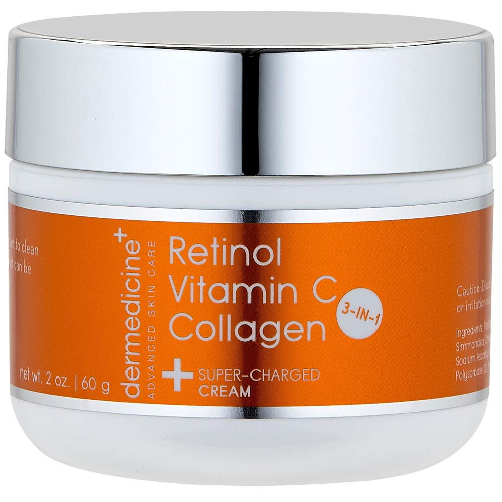 Vitamin C + Retinol + Collagen | Super Charged Anti-Aging Cream for Face | Pharmaceutical Grade Quality | Helps Smooth & Plump Fine Lines & Wrinkles & Brightens for Younger Skin | 2 oz / 60 g by Dermedicine