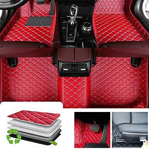 Custom Diamond Floor Mats for SEAT Arona Leon,All Weather Waterproof Protection Car Floor Mats Liners Full Set,Red