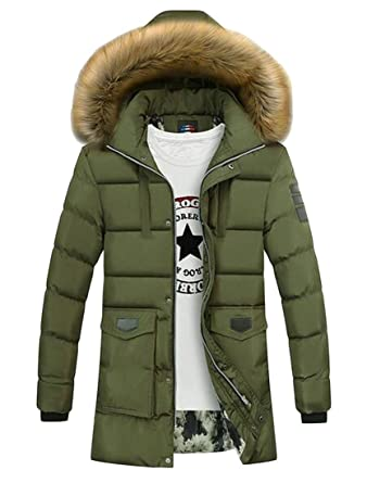 Fubotevic Men Faux Fur Hooded Winter Warm Long Quilted Puffer Jacket Parka  Coat Outerwear at Amazon Men s Clothing store  94918a0da
