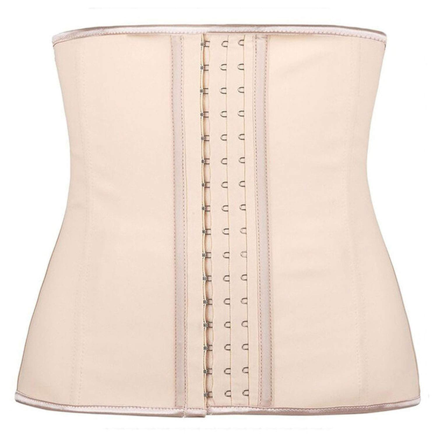 Beige MiniYoo 100% Latex Waist Trainer Corset 9 Steel Bone Shapewear Body Shapers Women Corset Waist Shaper