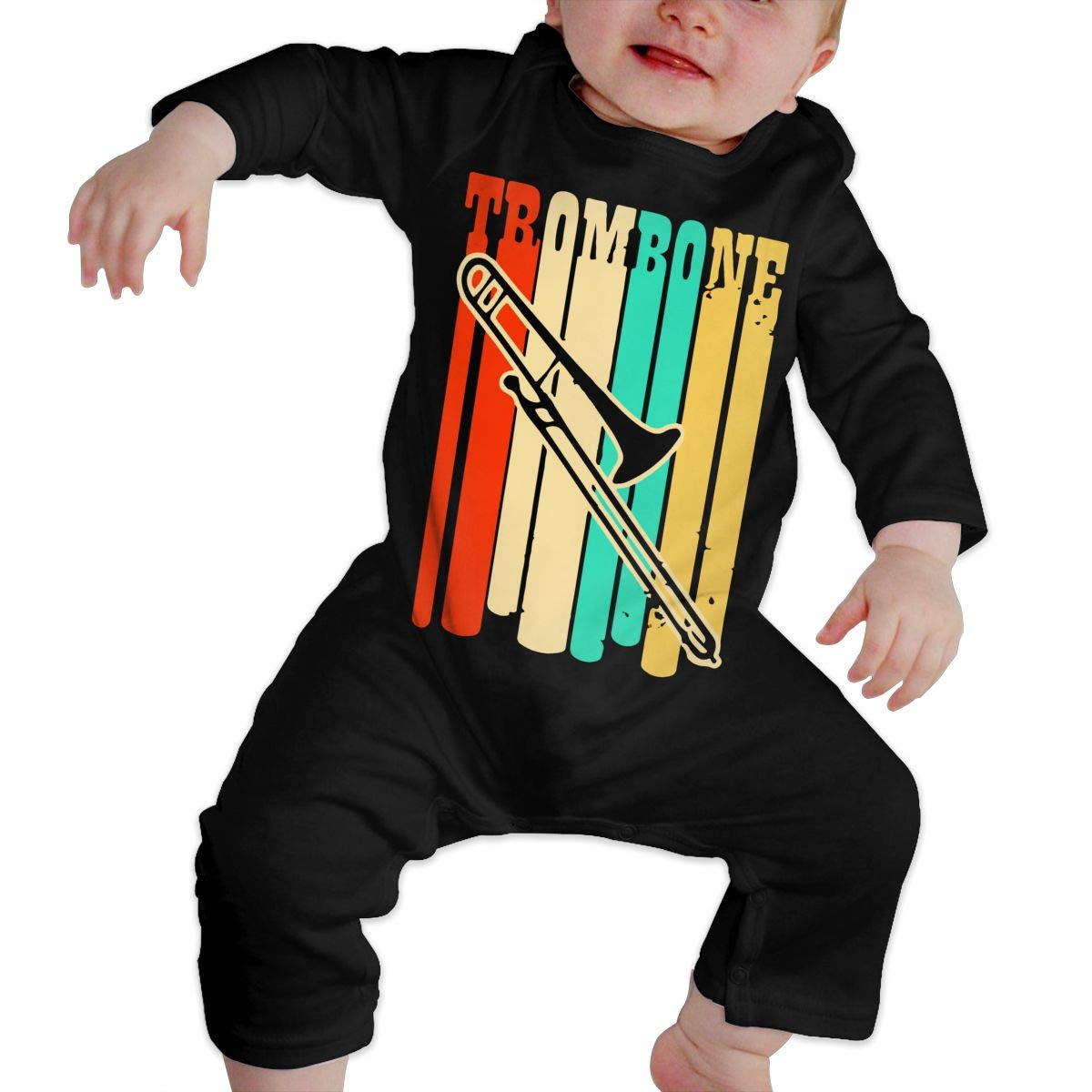 Trombone Vintage Retro Baby Girl Long Sleeve Romper Jumpsuit Infant Romper Jumpsuit