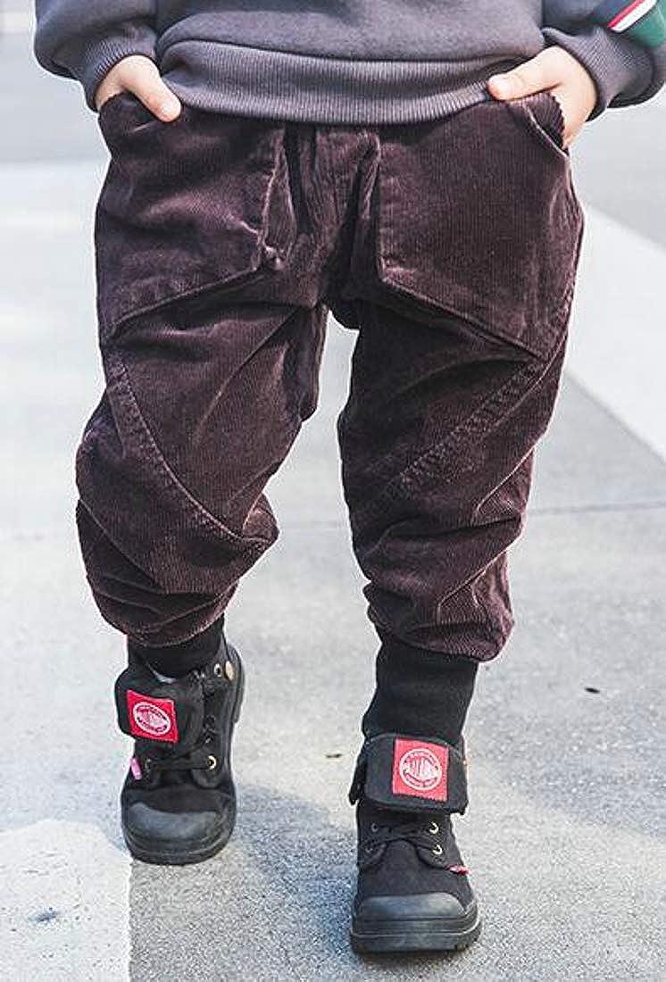 Hajotrawa Boys Stylish Fleece Jogger Corduroy Solid Color Basic Pants