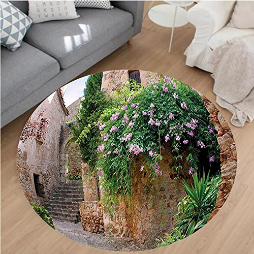 Nalahome Modern Flannel Microfiber Non-Slip Machine Washable Round Area Rug-Summer Garden Flowers Marigold Stones Antique Ancient House in Spain Art Print Multicolor area rugs Home Decor-Round 71'' by Nalahome