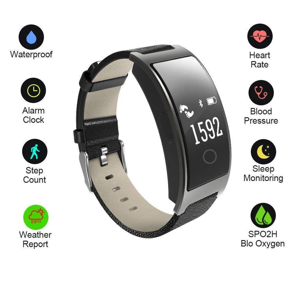 Hangang Fitness Trackerスマートブレスレットスポーツトラッカー活動リストバンドインテリジェントWatch健康トラッカーハートレート血圧酸素モニタfor iOS and Android電話ビジネスタイプck11s-black   B07CTJMGSB