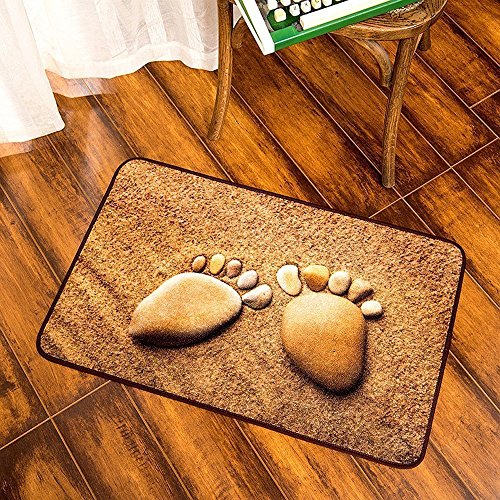 KEPSWET Fashion Rural Style Home Essentials Area Rug Creative Little Feet Non-slip Bathroom Rugs Cobblestone Pattern Bedroom Livingroom Small Rug Washable Door Mats Footmats (2'0x3'0, Photo color) Review