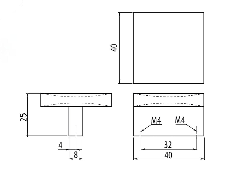SO-TECH/® Maniglia per Mobili Pomello per Mobili Dora 40 x 40 mm Distanza Fori 32 mm Finitura Cromo Lucido